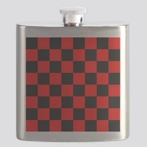 Bright red and black checkerboard Flask