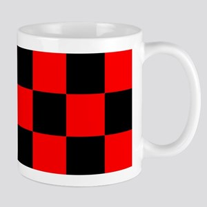 Bright red and black checkerboard Mug