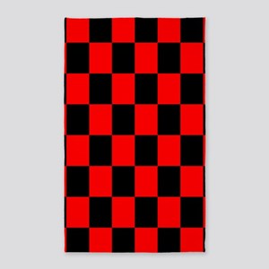 Bright red and black checkerboard 3'x5' Area Rug