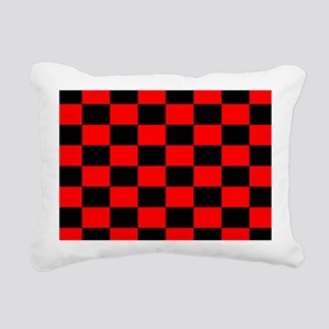 Bright red and black checkerboard Rectangular Canv