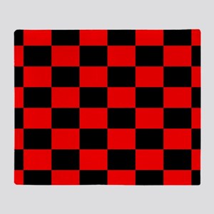 Bright red and black checkerboard Throw Blanket