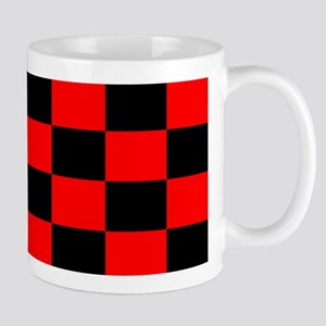 Bright red and black checkerboard Mug