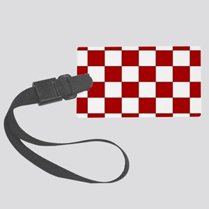 Bold Red and White Checkerboard Luggage Tag