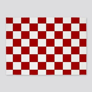 Bold Red And White Checkerboard 5 X7 Area Rug