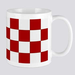 Bold Red and White Checkerboard Mug