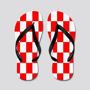 Bright Red and white checkerboard Flip Flops