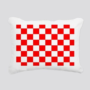 Bright Red and white checkerboard Rectangular Canv