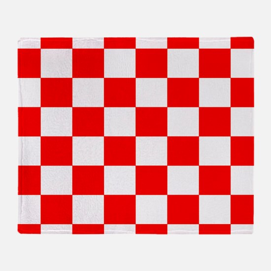 Bright Red and white checkerboard Throw Blanket