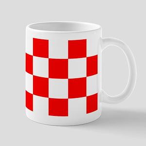 Bright Red and white checkerboard Mug
