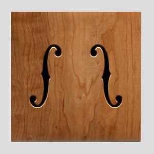 F-Holes Woodgrain Tile Coaster