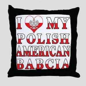I Heart My Polish American Babcia Throw Pillow