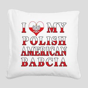 I Heart My Polish American Babcia Square Canvas Pi