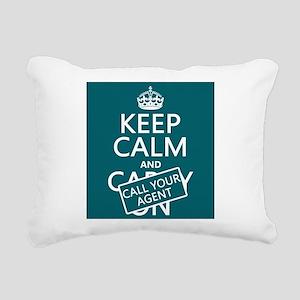 Keep Calm Call Your Agent Rectangular Canvas Pillo