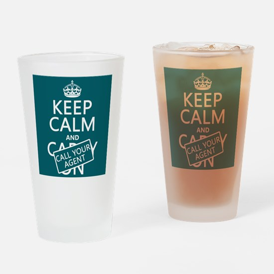 Keep Calm Call Your Agent Drinking Glass