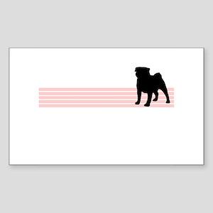 Retro Pug Rectangle Sticker
