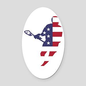 Lacrosse IRockMericaHorz Oval Car Magnet