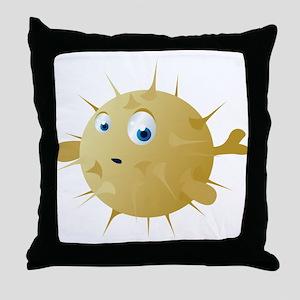 Cartoon Puffer Fish Throw Pillow