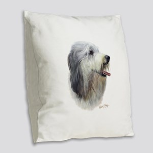 Bearded Collie Burlap Throw Pillow
