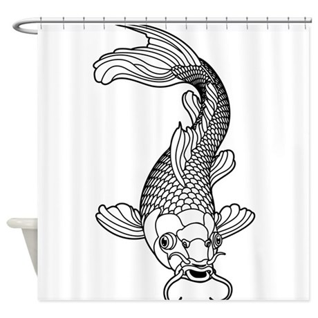 Black and white koi shower curtain by underthesea2 for Black white koi