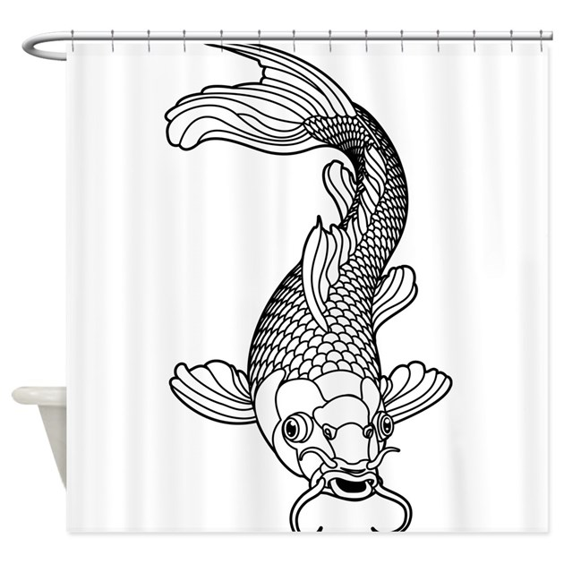 Black and white koi shower curtain by underthesea2 for Black and white koi