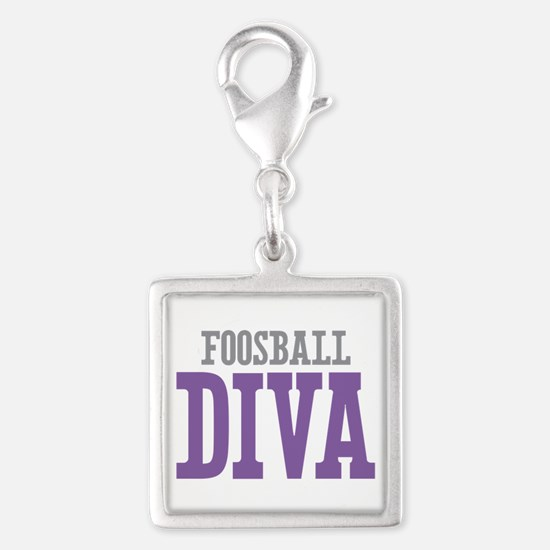 Foosball DIVA Silver Square Charm