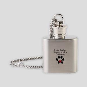 Pekingese Dog Day Flask Necklace