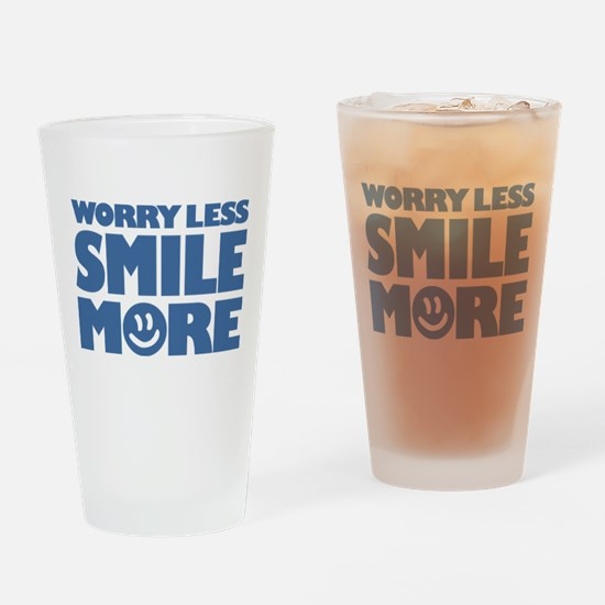Worry Less Smile More - Smiley Face Drinking Glass