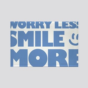 Worry Less Smile More - Smiley Face Rectangle Magn