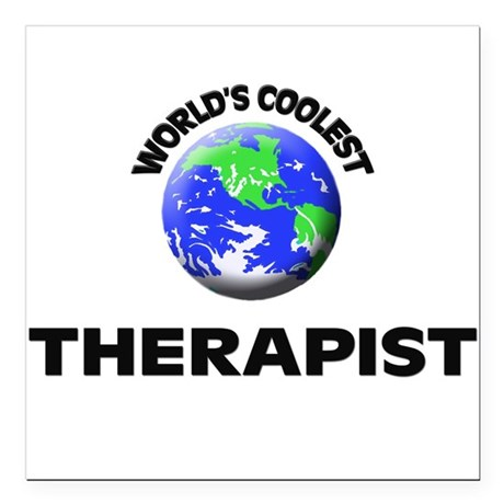 "World's Coolest Therapist Square Car Magnet 3"" x 3"