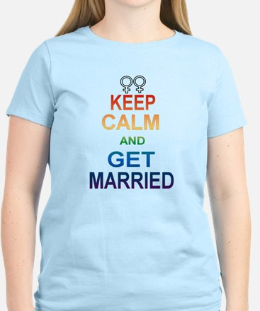 Keep Calm And Get Married Female Symbol. T-Shirt