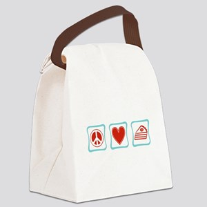 PeaceLovePieSquares Canvas Lunch Bag