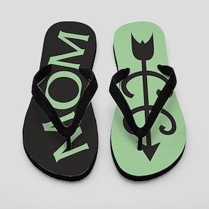 Light GREEN Black Cross Country MOM Flip Flops