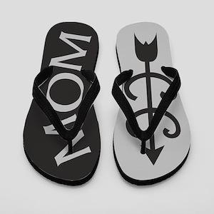 GREY Black Cross Country MOM Flip Flops