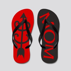 RED Black Cross Country MOM Flip Flops