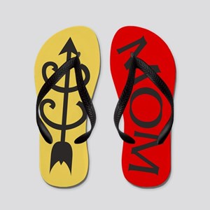 Yellow Gold Red Cross Country MOM Flip Flops