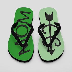 2-Tone GREEN Cross Country MOM Flip Flops