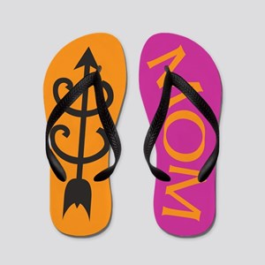 Orange PINK Cross Country MOM Flip Flops