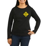 Dangerous Curves Sign Womens Long Sleeve Black T-S