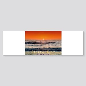 Siesta Key Florida Orange Sun Sticker (Bumper 10 p