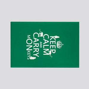 Keep Calm and Carry Monkeys Rectangle Magnet
