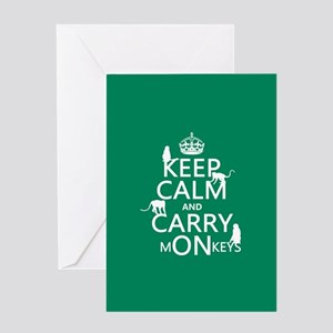 Keep Calm and Carry Monkeys Greeting Card