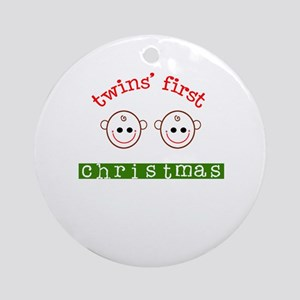 Twins First Christmas Ornament (Round)