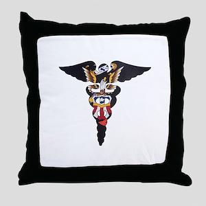 Navy Caduceus Eagle Throw Pillow