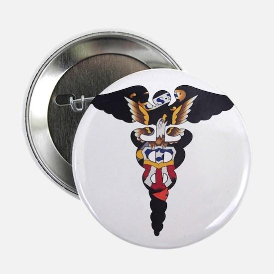 """Navy Caduceus Eagle 2.25"""" Button"""