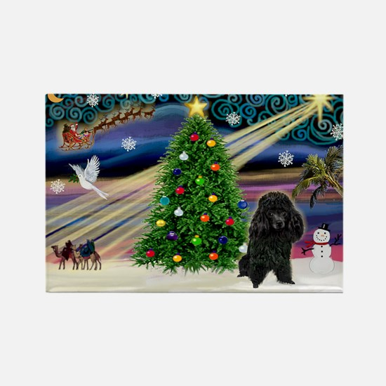 Xmas Magic-Black Poodle Rectangle Magnet