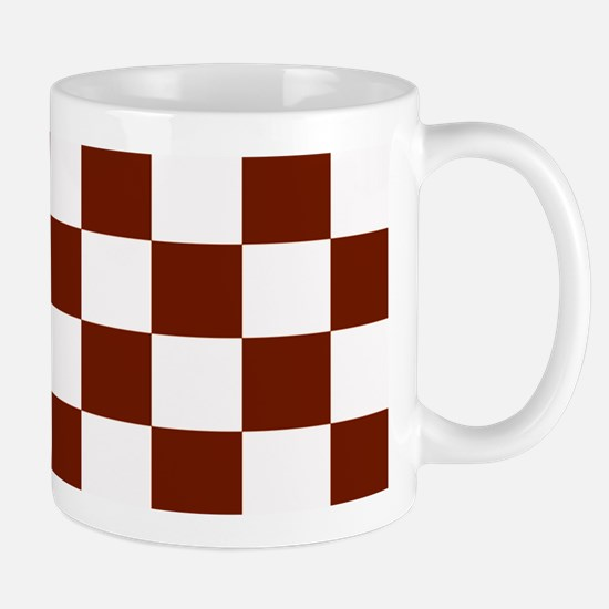 Brown and White Checkerboard Mug