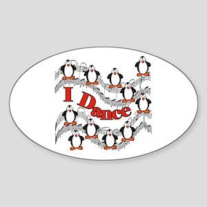 Penguin Dance Oval Sticker
