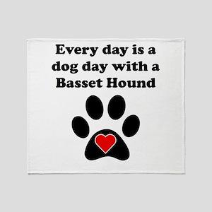 Basset Hound Dog Day Throw Blanket