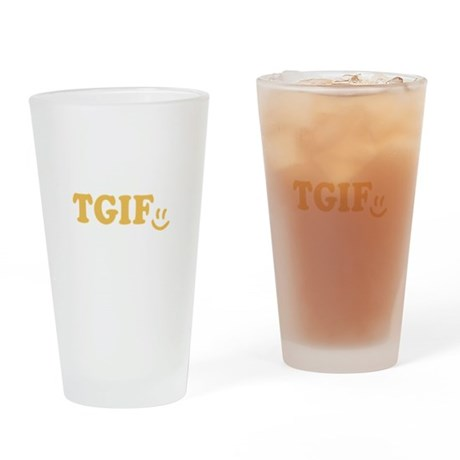 TGIF - Smiley Face - Yellow Drinking Glass