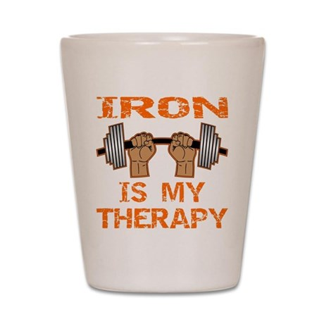 Iron Is My Therapy Shot Glass